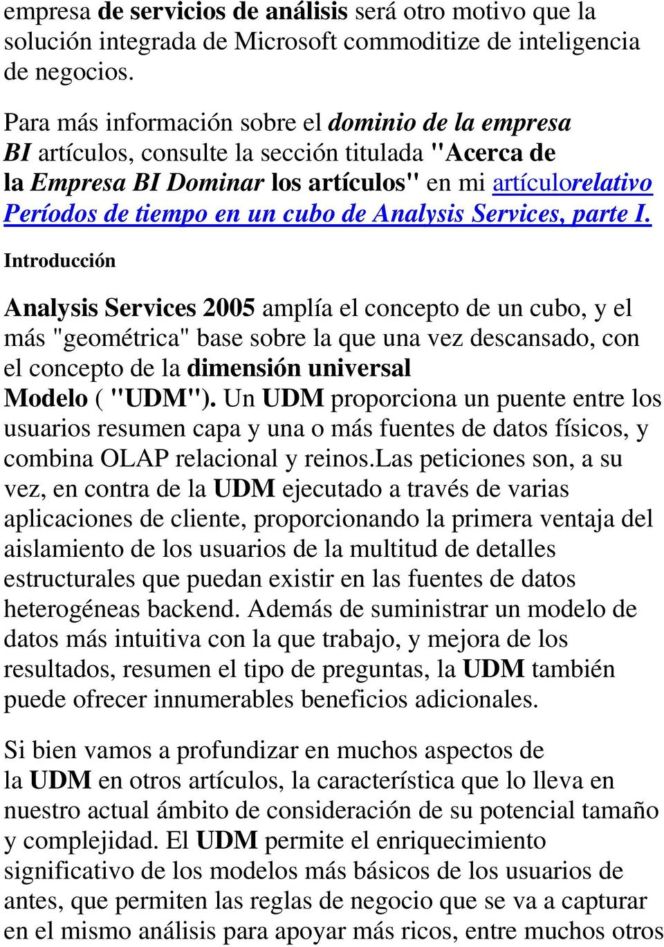 Analysis Services, parte I.