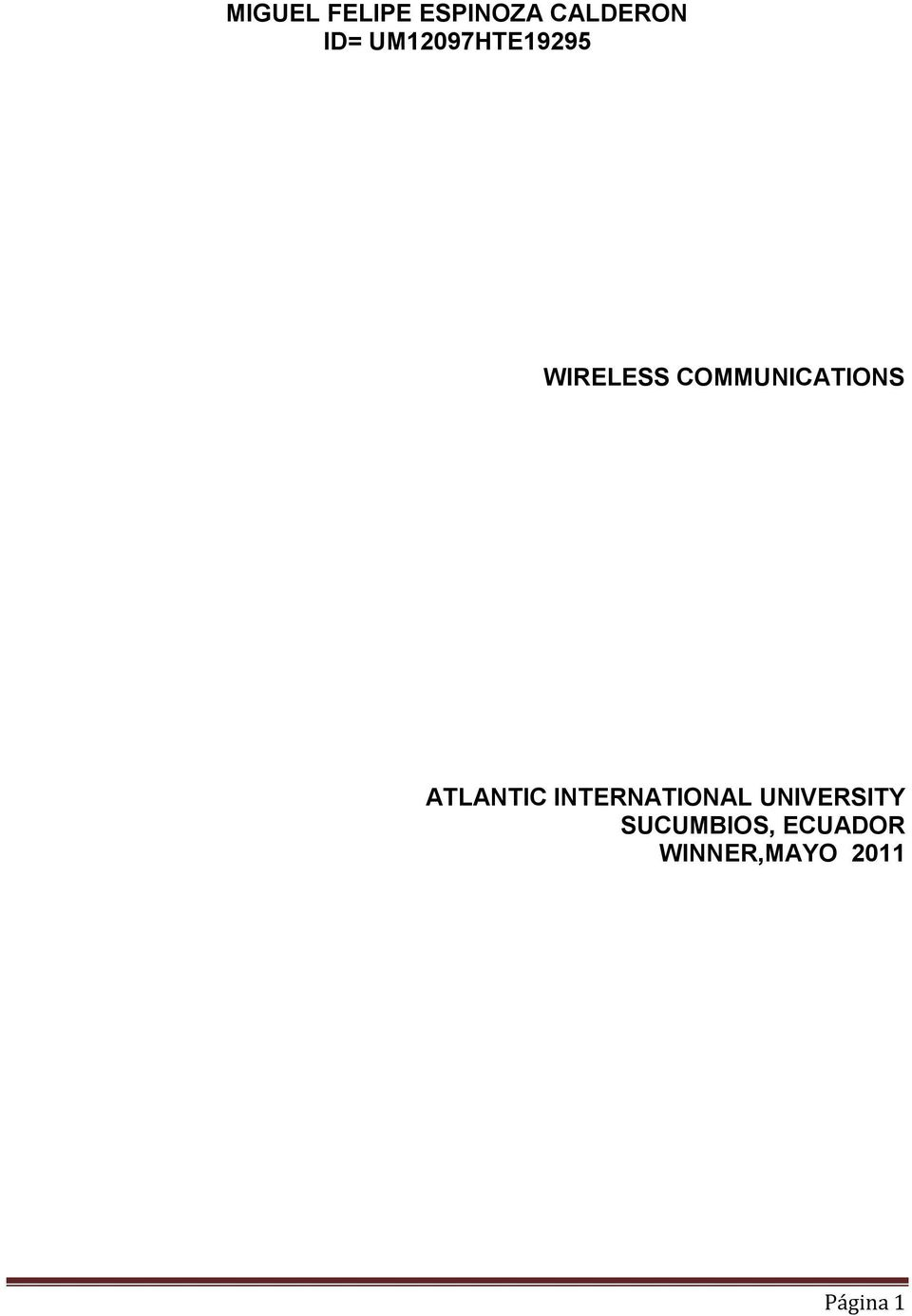 COMMUNICATIONS ATLANTIC INTERNATIONAL