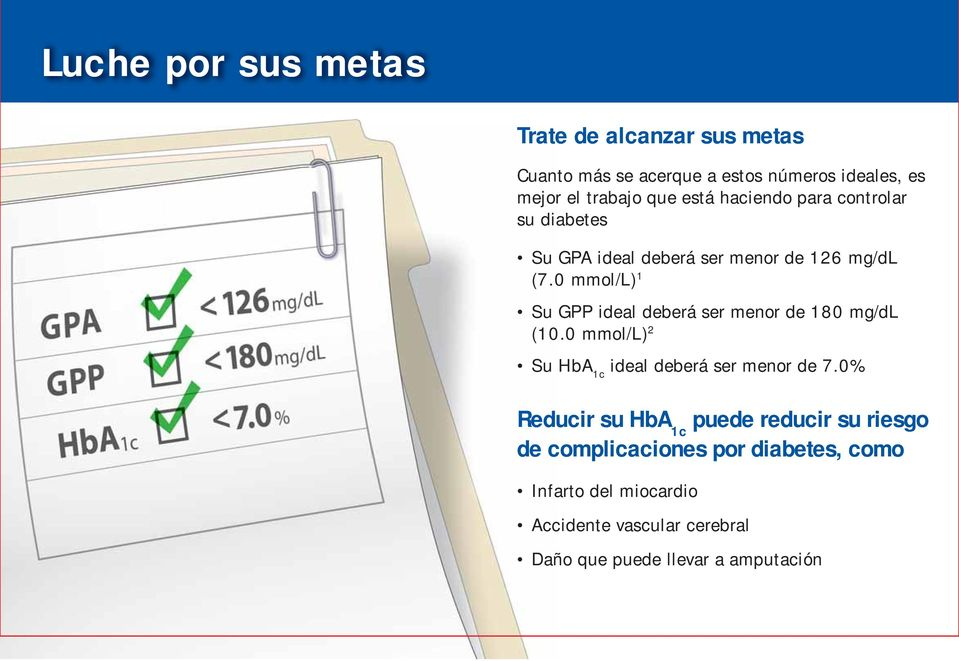 0 mmol/l) 1 Su GPP ideal deberá ser menor de 180 mg/dl (10.0 mmol/l) 2 Su HbA 1c ideal deberá ser menor de 7.