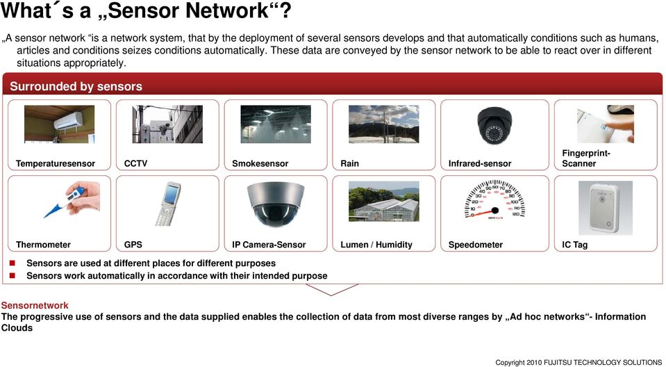 These data are conveyed by the sensor network to be able to react over in different situations appropriately.