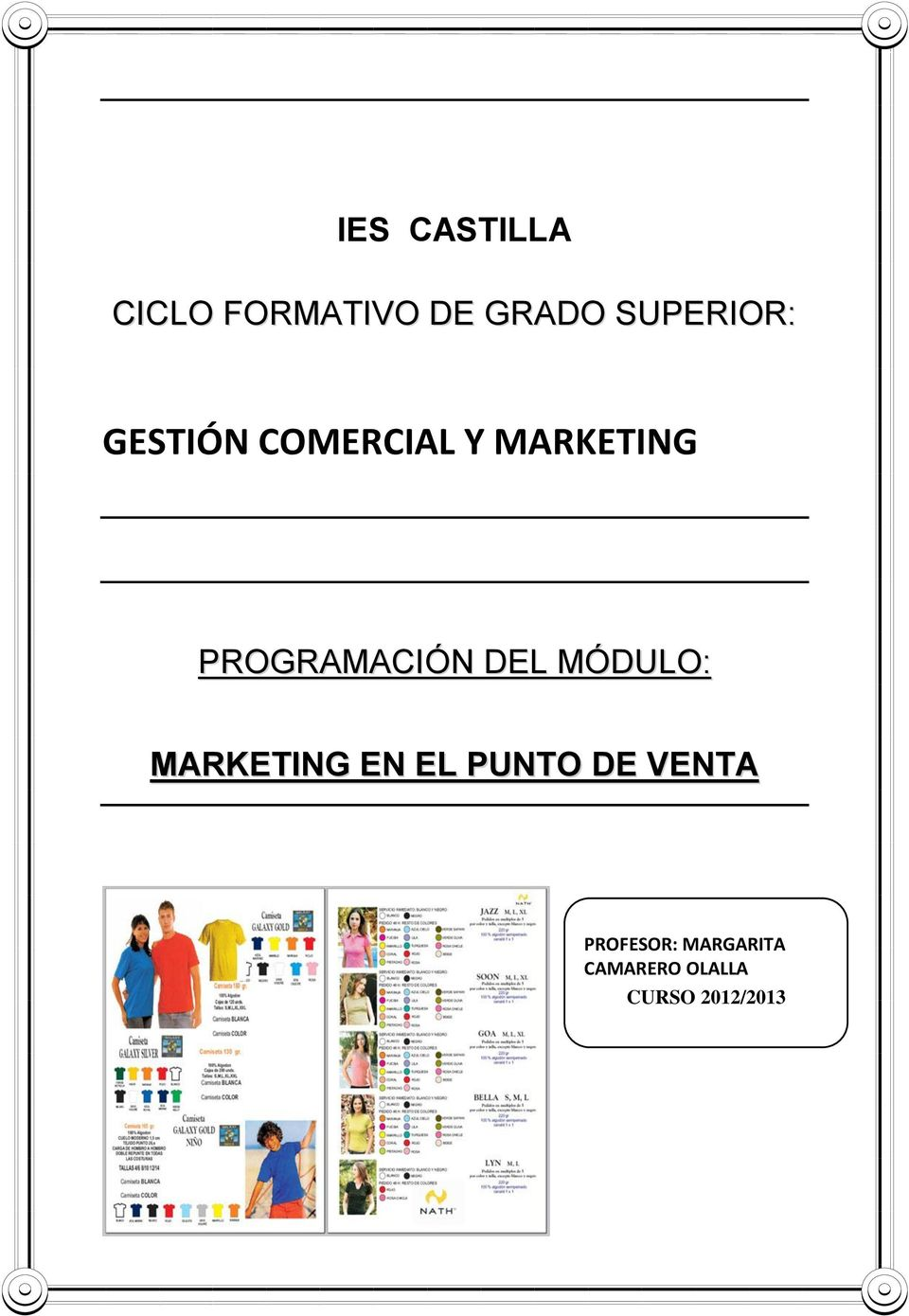 PROGRAMACIÓN DEL MÓDULO: MARKETING EN EL PUNTO