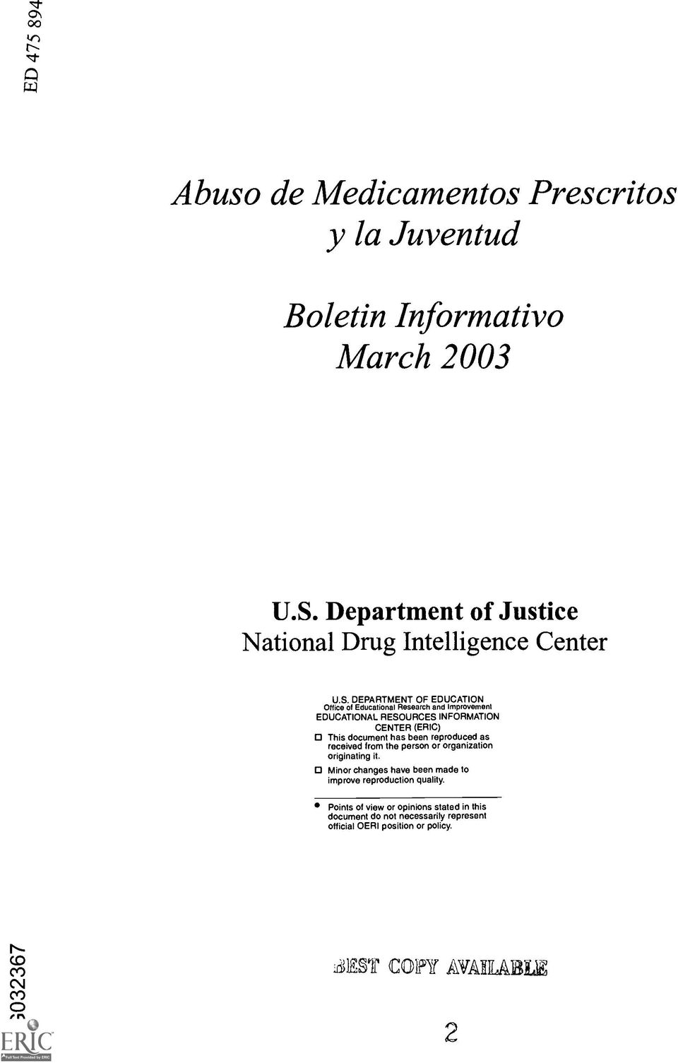 DEPARTMENT OF EDUCATION Office of Educational Research and Improvement EDUCATIONAL RESOURCES INFORMATION CENTER (ERIC) This document has