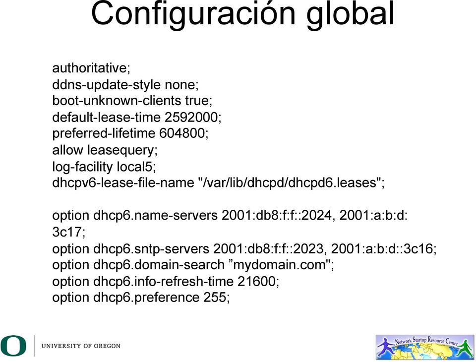 "leases""; option dhcp6.name-servers 2001:db8:f:f::2024, 2001:a:b:d: 3c17; option dhcp6."