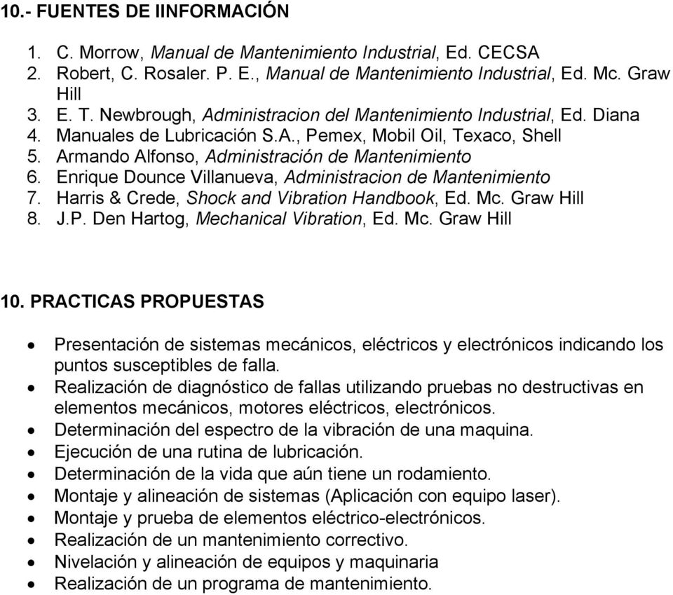 Enrique Dounce Villanueva, Administracion de Mantenimiento 7. Harris & Crede, Shock and Vibration Handbook, Ed. Mc. Graw Hill 8. J.P. Den Hartog, Mechanical Vibration, Ed. Mc. Graw Hill 0.