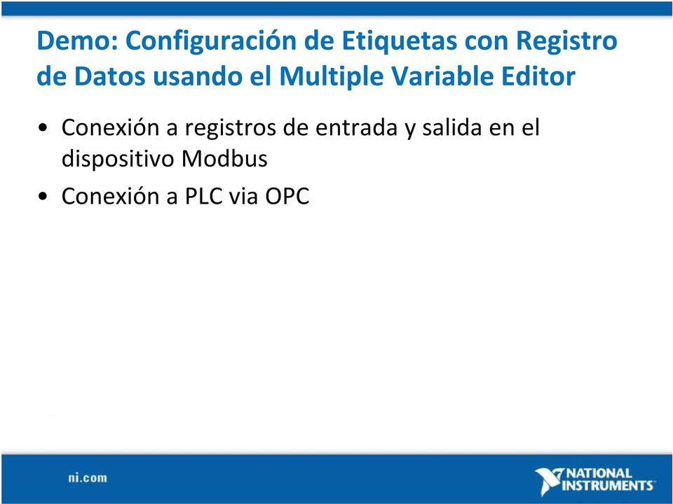 Variable Editor Conexión a registros de