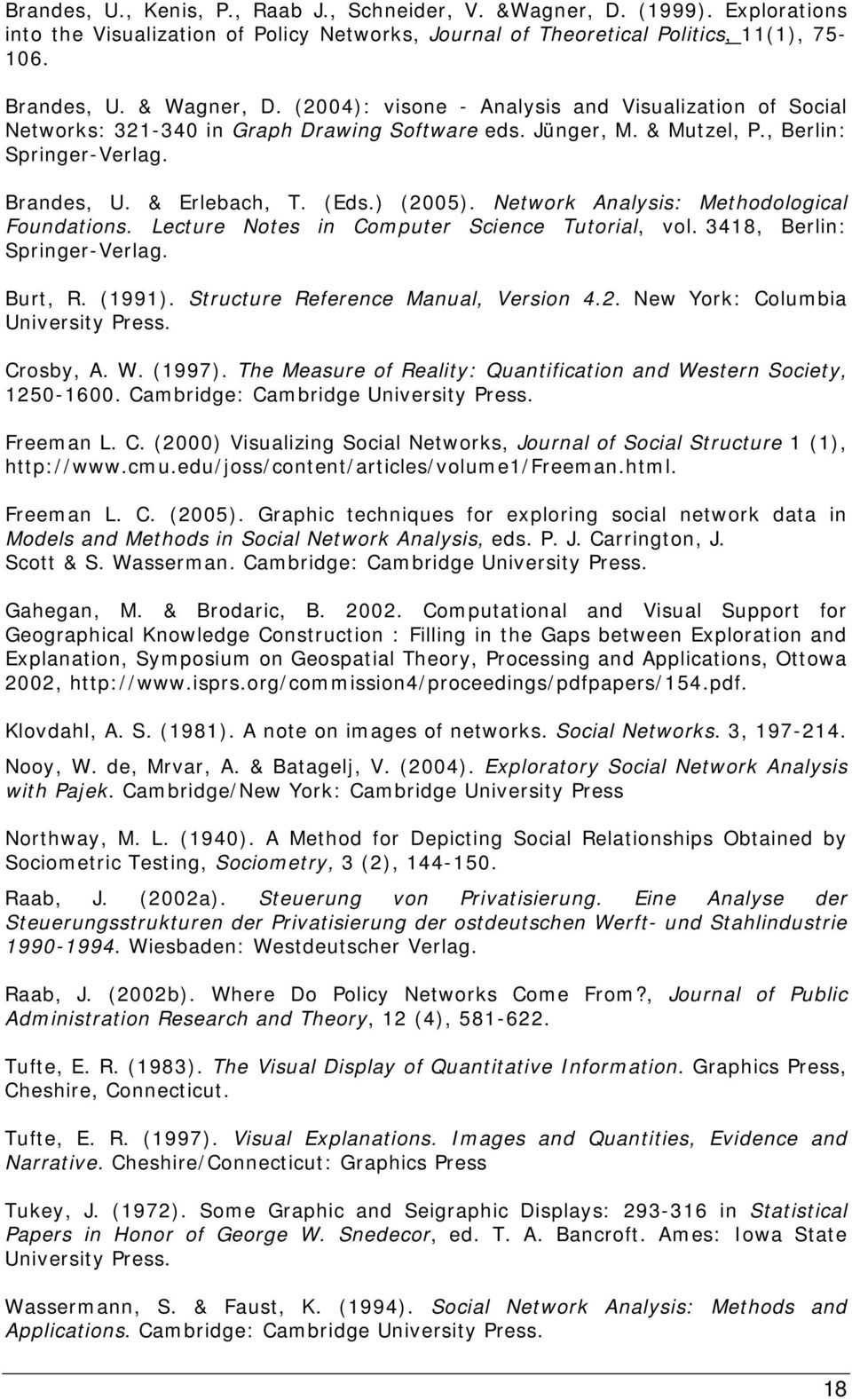 Network Analysis: Methodological Foundations. Lecture Notes in Computer Science Tutorial, vol. 3418, Berlin: Springer-Verlag. Burt, R. (1991). Structure Reference Manual, Version 4.2.