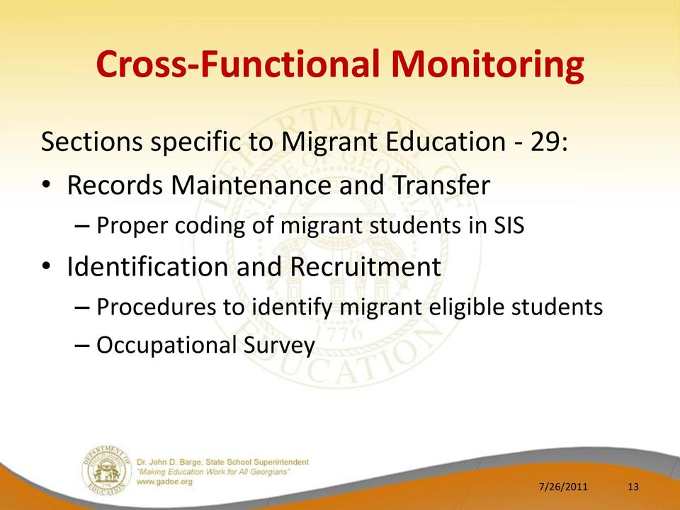 of migrant students in SIS Identification and Recruitment