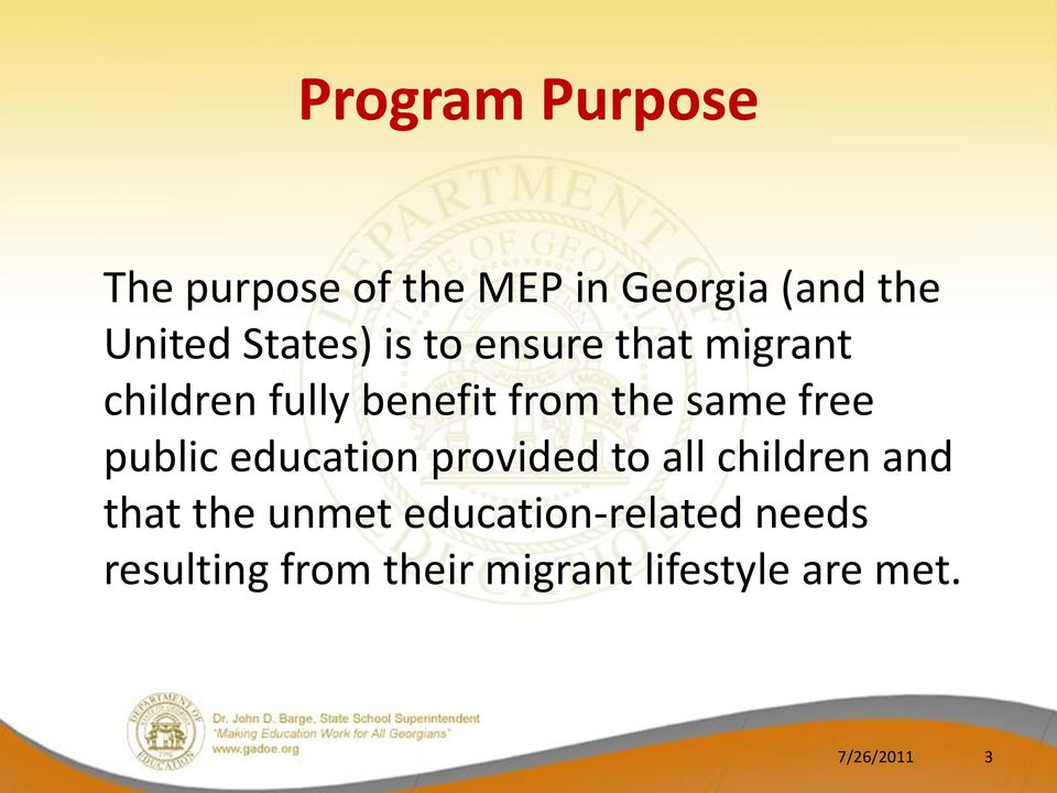 free public education provided to all children and that the unmet