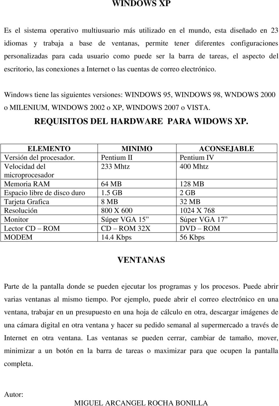 Windows tiene las siguientes versiones: WINDOWS 95, WINDOWS 98, WNDOWS 2000 o MILENIUM, WINDOWS 2002 o XP, WINDOWS 2007 o VISTA. REQUISITOS DEL HARDWARE PARA WIDOWS XP.