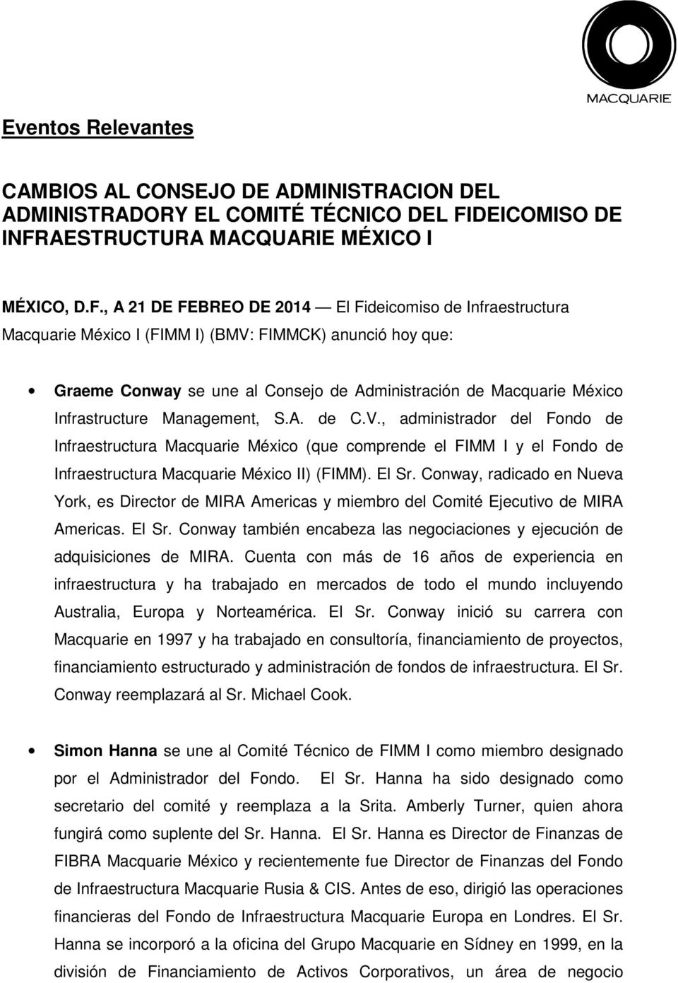 AESTRUCTURA MACQUARIE MÉXICO I MÉXICO, D.F.