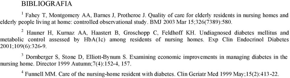 2 Hauner H, Kurnaz AA, Haastert B, Groschopp C, Feldhoff KH. Undiagnosed diabetes mellitus and metabolic control assessed by HbA(1c) among residents of nursing homes.