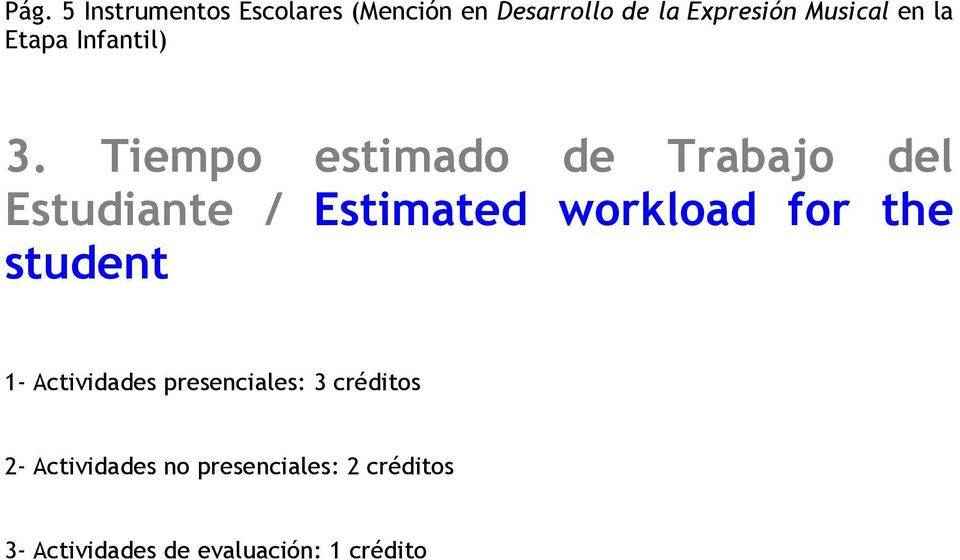 Tiempo estimado de Trabajo del Estudiante / Estimated workload for the