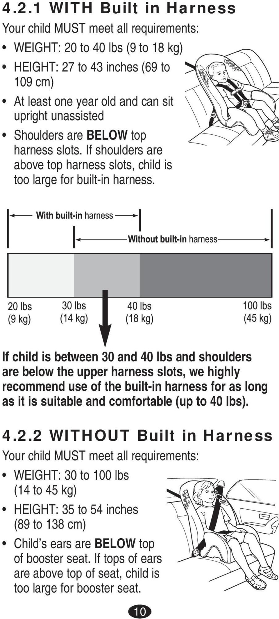 If child is between 30 and 40 lbs and shoulders are below the upper harness slots, we highly recommend use of the built-in harness for as long as it is suitable and comfortable (up to 40 lbs).