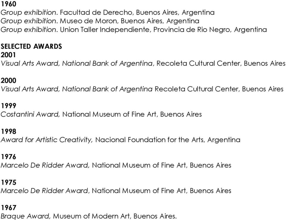 Award, National Bank of Recoleta Cultural Center, Buenos Aires Costantini Award, National Museum of Fine Art, Buenos Aires Award for Artistic Creativity, Nacional