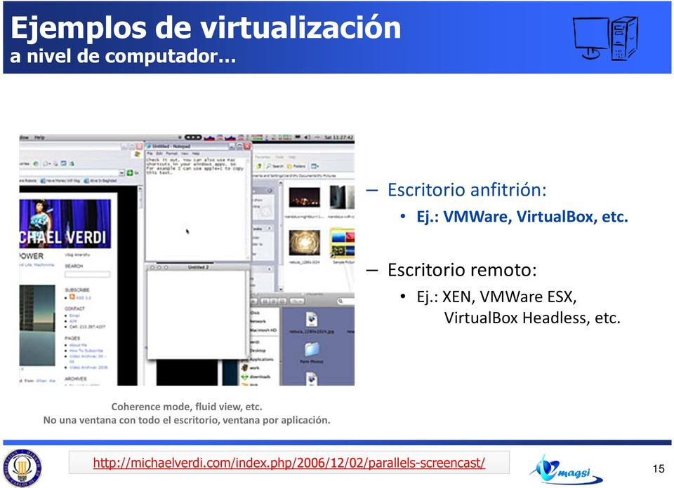 : XEN, VMWareESX, VirtualBox Headless, etc. Coherence mode, fluid view, etc.