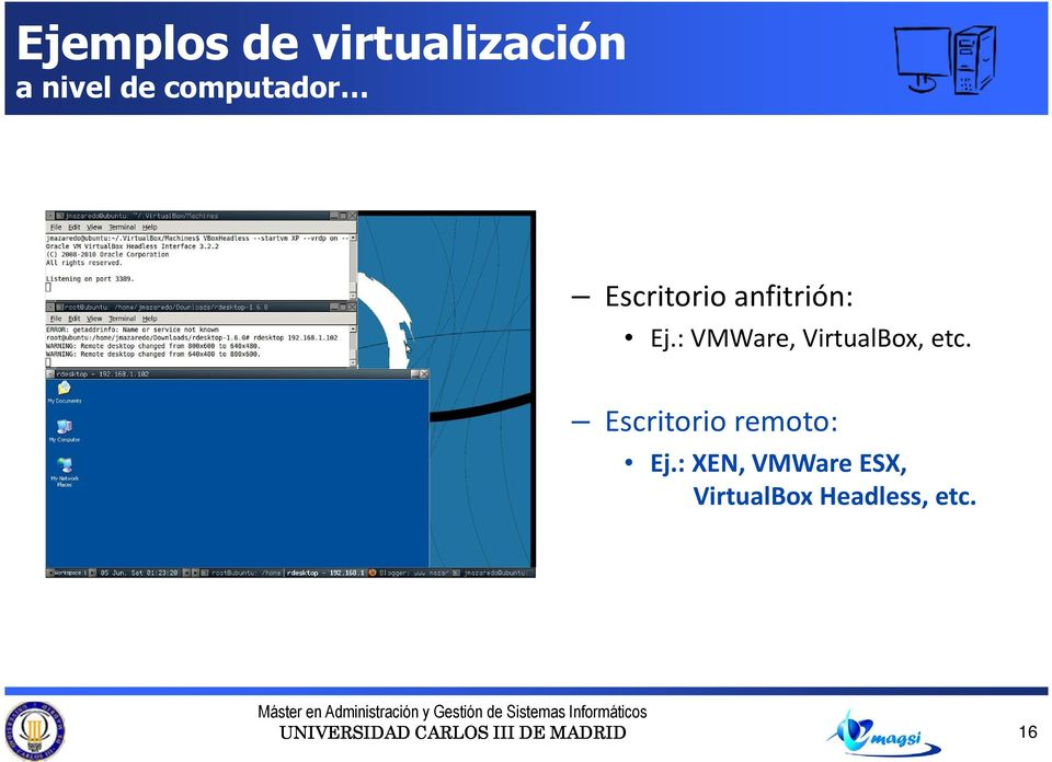 : VMWare, VirtualBox, etc.