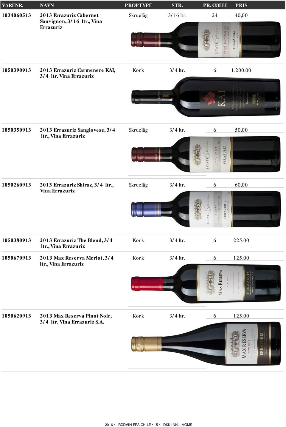 6 50,00 1050260913 2013 Shiraz, 3/4 ltr., Vina Skruelåg 3/4 ltr. 6 60,00 1050380913 2013 The Blend, 3/4 ltr.