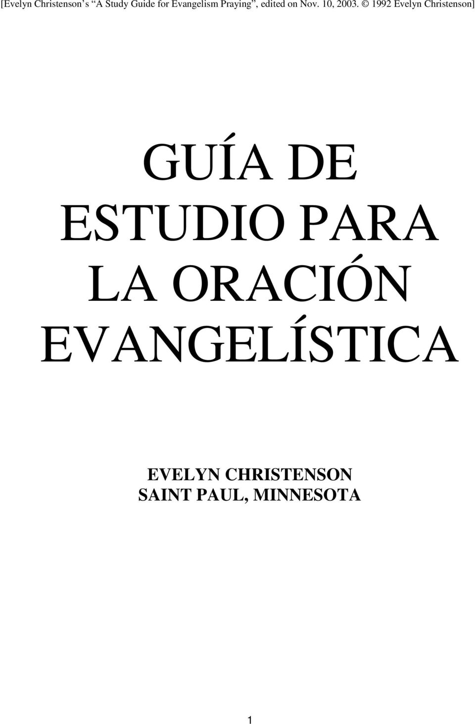 1992 Evelyn Christenson] GUÍA DE ESTUDIO PARA LA