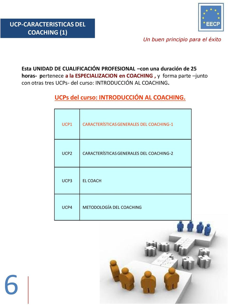 INTRODUCCIÓN AL COACHING. UCPs del curso: INTRODUCCIÓN AL COACHING.