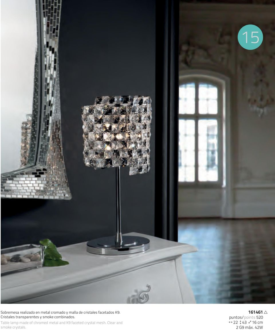 Table lamp made of chromed metal and K9 faceted crystal mesh.