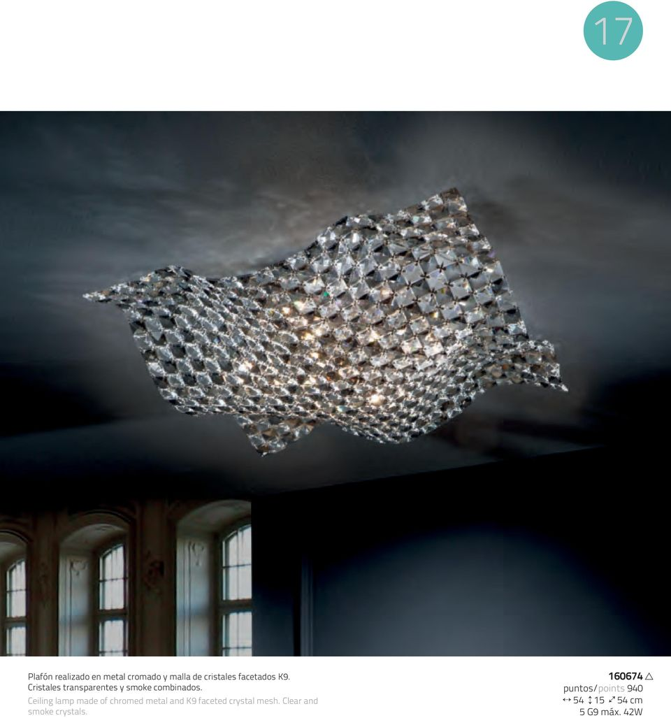 Ceiling lamp made of chromed metal and K9 faceted crystal mesh.