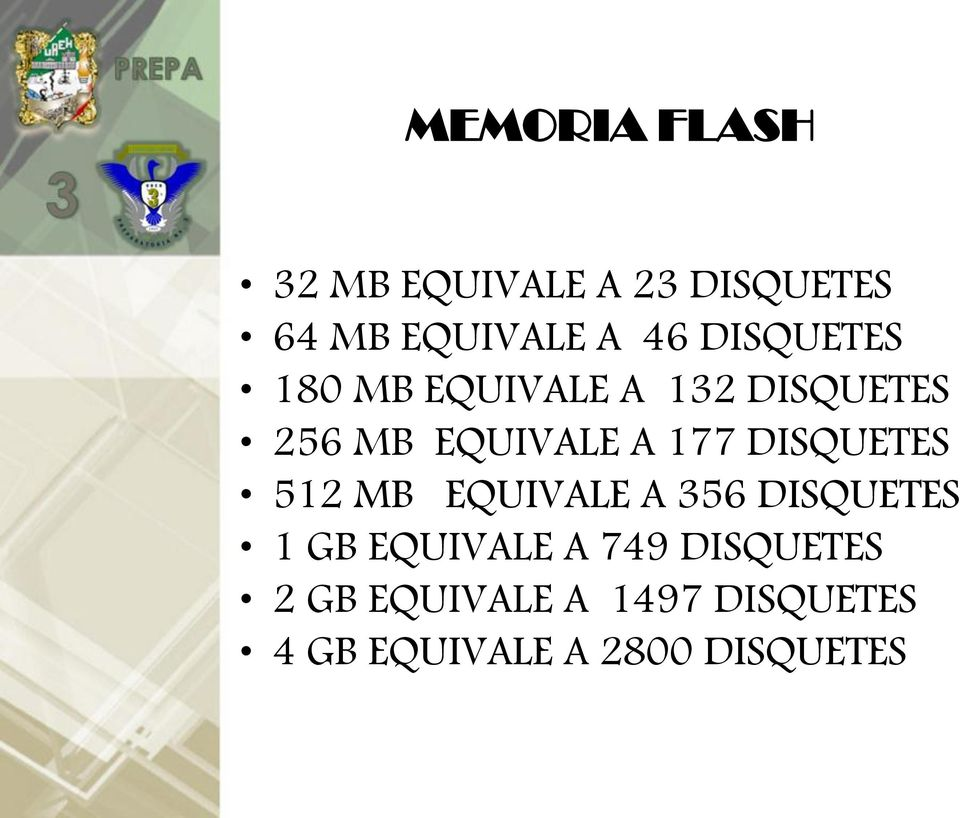 DISQUETES 512 MB EQUIVALE A 356 DISQUETES 1 GB EQUIVALE A 749