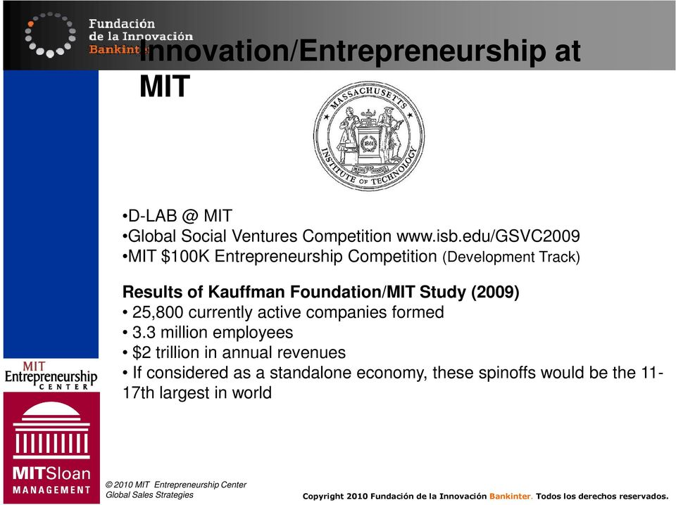 Foundation/MIT Study (2009) 25,800 currently active companies formed 3.