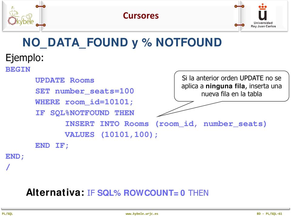 WHERE room_ id=10101; IF SQL%NOTFOUND THEN INSERT INTO Rooms (room_id, number_seats) VALUES