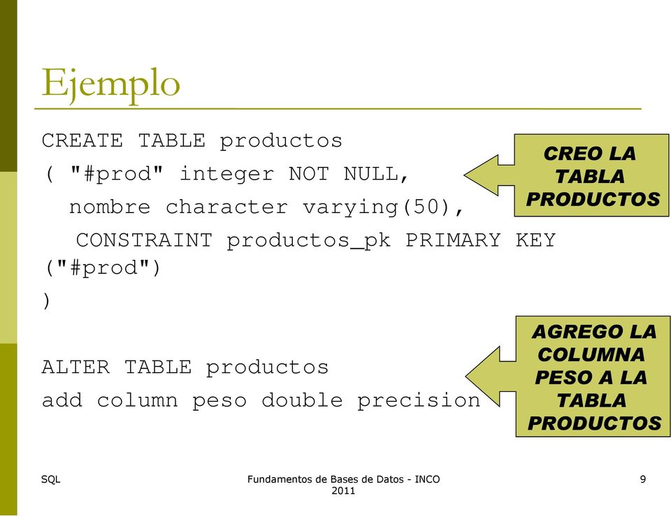 "(""#prod"") ) ALTER TABLE productos add column peso double"