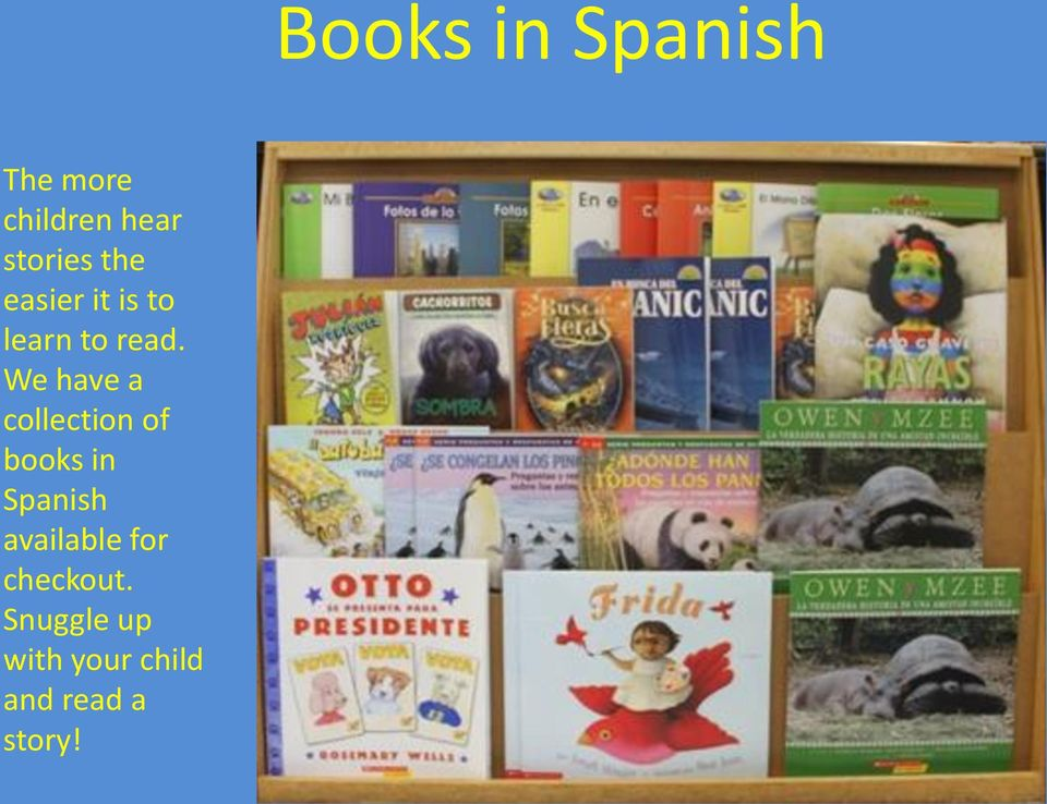 We have a collection of books in Spanish