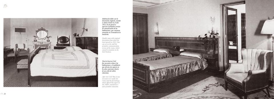 Double room with original decoration from when the hotel opened in 1912.