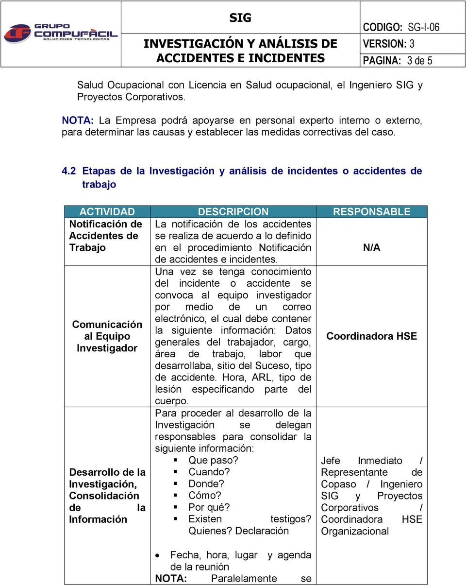 2 Etapas de la Investigación y análisis de incidentes o accidentes de trabajo ACTIVIDAD DESCRIPCION RESPONSABLE Notificación de Accidentes de Trabajo La notificación de los accidentes se realiza de