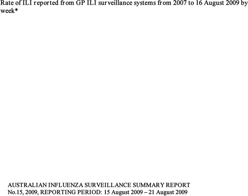 AUSTRALIAN INFLUENZA SURVEILLANCE SUMMARY REPORT