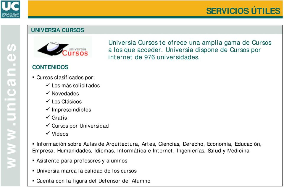 Universia dispone de Cursos por internet de 976 universidades.