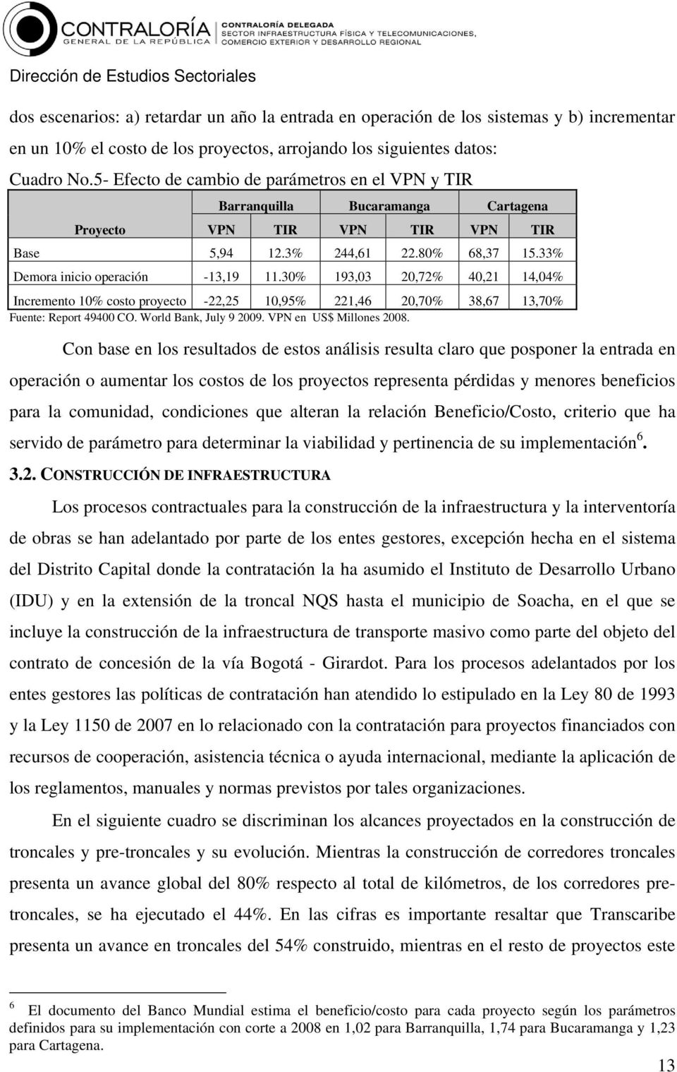 30% 193,03 20,72% 40,21 14,04% Incremento 10% costo proyecto -22,25 10,95% 221,46 20,70% 38,67 13,70% Fuente: Report 49400 CO. World Bank, July 9 2009. VPN en US$ Millones 2008.