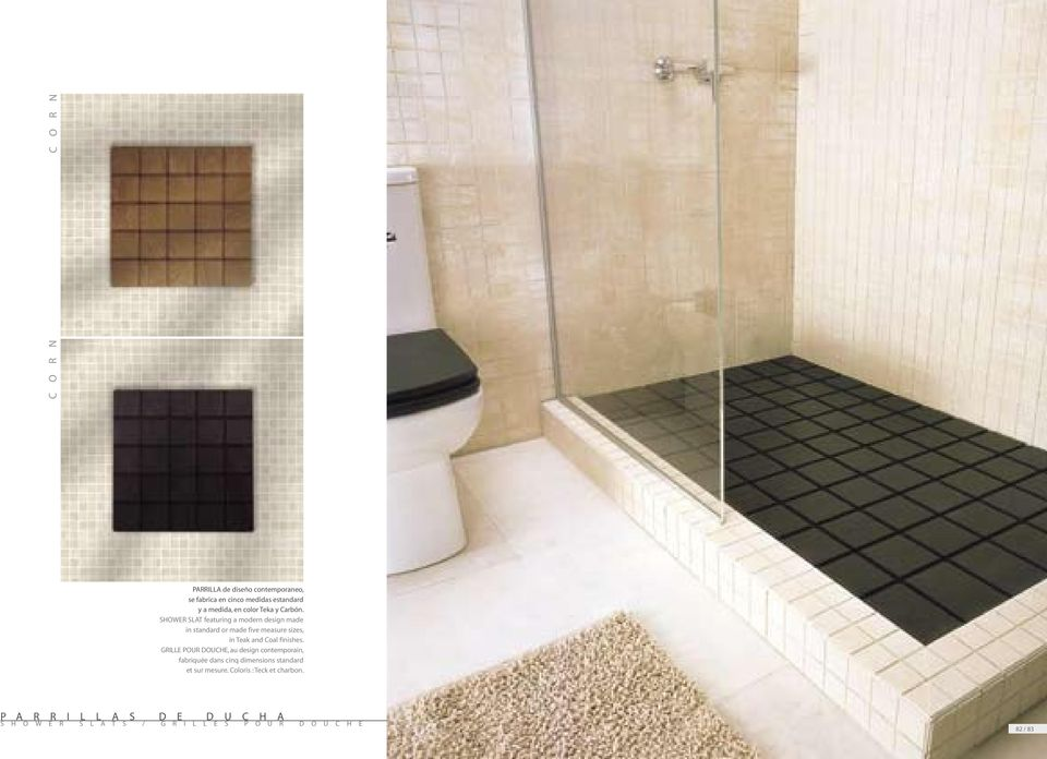 SHOWER SLAT featuring a modern design made in standard or made five measure sizes, in Teak and Coal