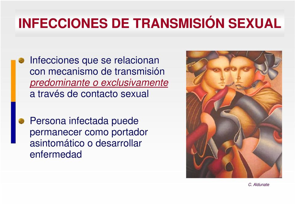 exclusivamente a través de contacto sexual Persona infectada