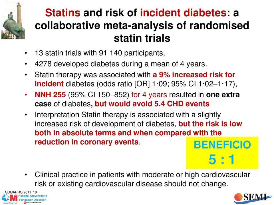 Statin therapy was associated with a 9% increased risk for incident diabetes (odds ratio [OR] 1 09; 95% CI 1 02 1 17), NNH 255 (95% CI 150 852) for 4 years resulted in one extra case of