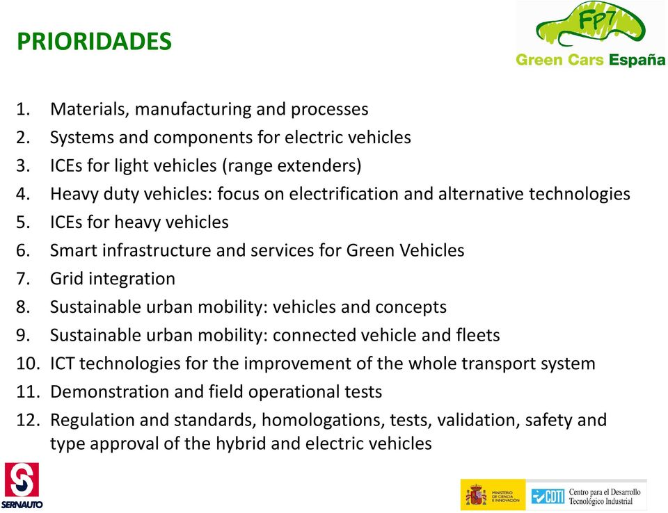 Grid integration 8. Sustainable urban mobility: vehicles and concepts 9. Sustainable urban mobility: connected vehicle and fleets 10.