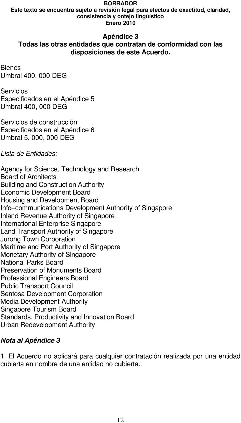 Science, Technology and Research Board of Architects Building and Construction Authority Economic Development Board Housing and Development Board Info communications Development Authority of