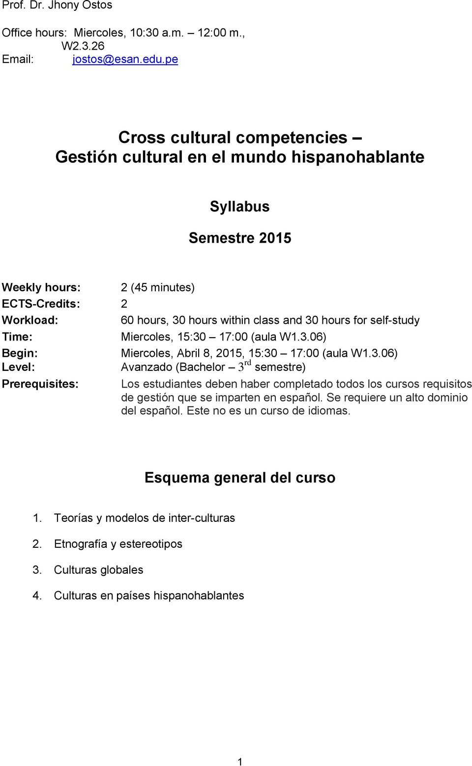 for self-study Time: Miercoles, 15:30