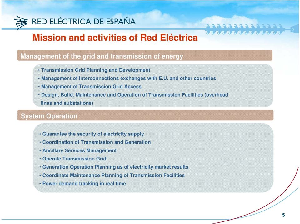 and other countries Management of Transmission Grid Access Design, Build, Maintenance and Operation of Transmission Facilities (overhead lines and substations)