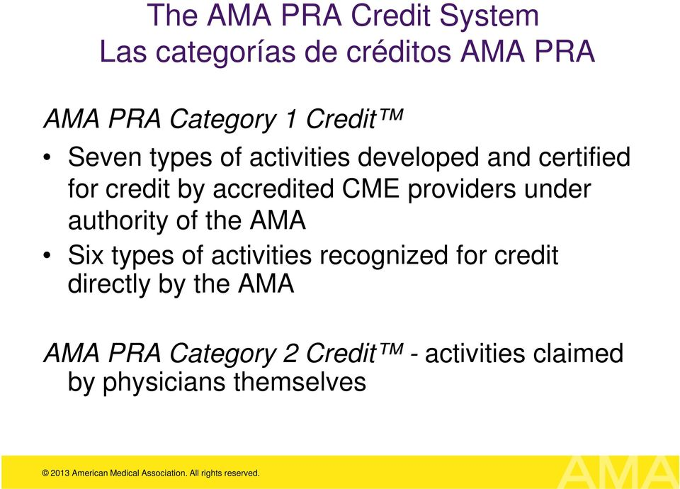 CME providers under authority of the AMA Six types of activities recognized for