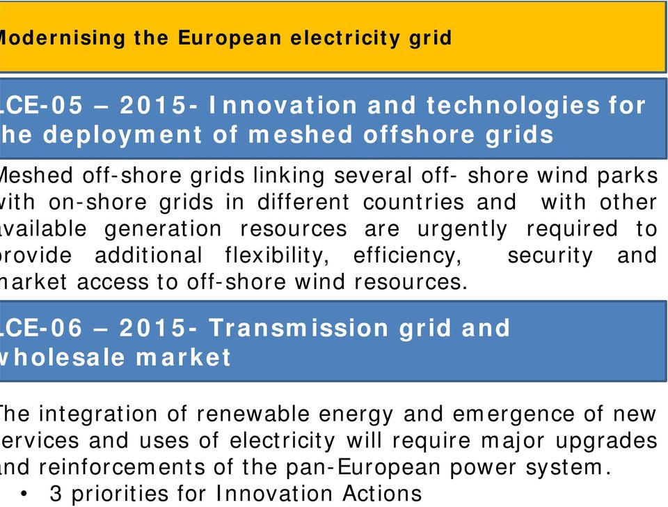 3 priorities for Innovation Actions odernising the European electricity grid CE-05 2015- Innovation and technologies for he deployment of meshed offshore grids