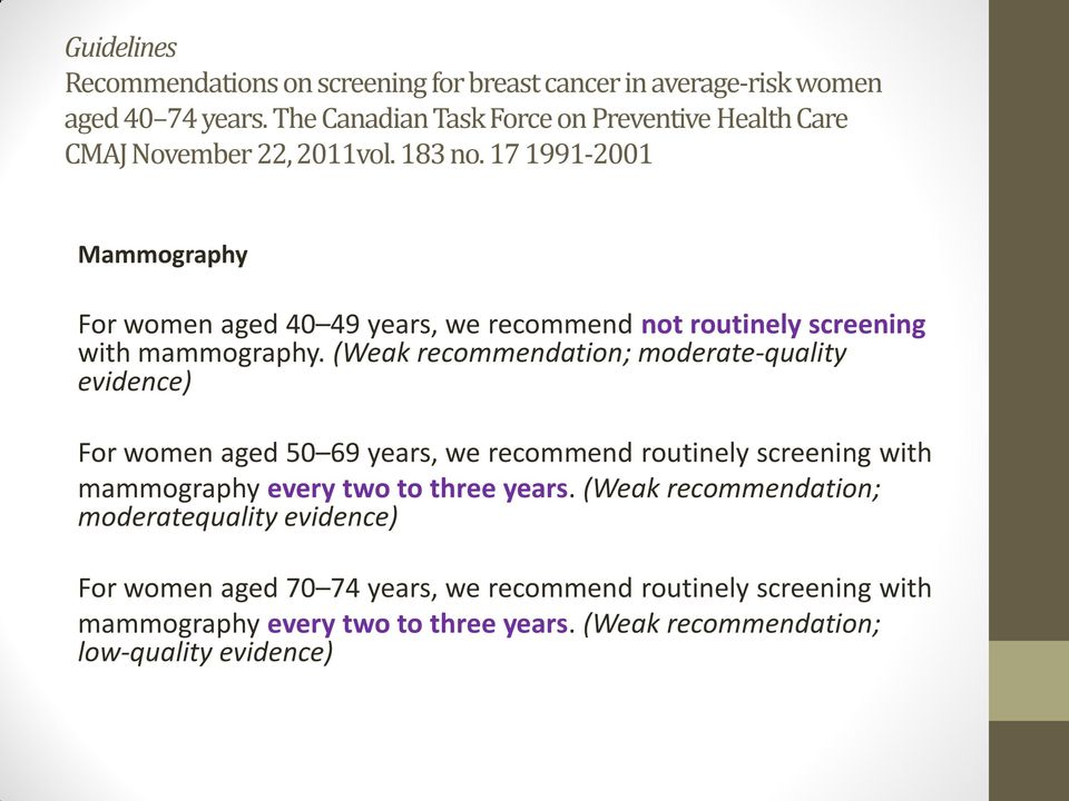 17 1991-2001 Mammography For women aged 40 49 years, we recommend not routinely screening with mammography.
