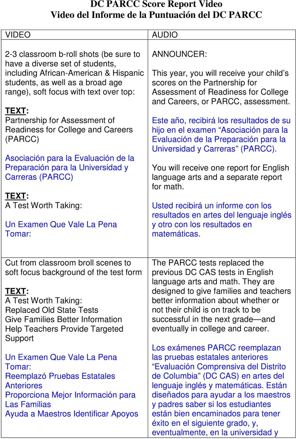Universidad y Carreras (PARCC) A Test Worth Taking: Un Examen Que Vale La Pena Tomar: AUDIO ANNOUNCER: This year, you will receive your child s scores on the Partnership for Assessment of Readiness