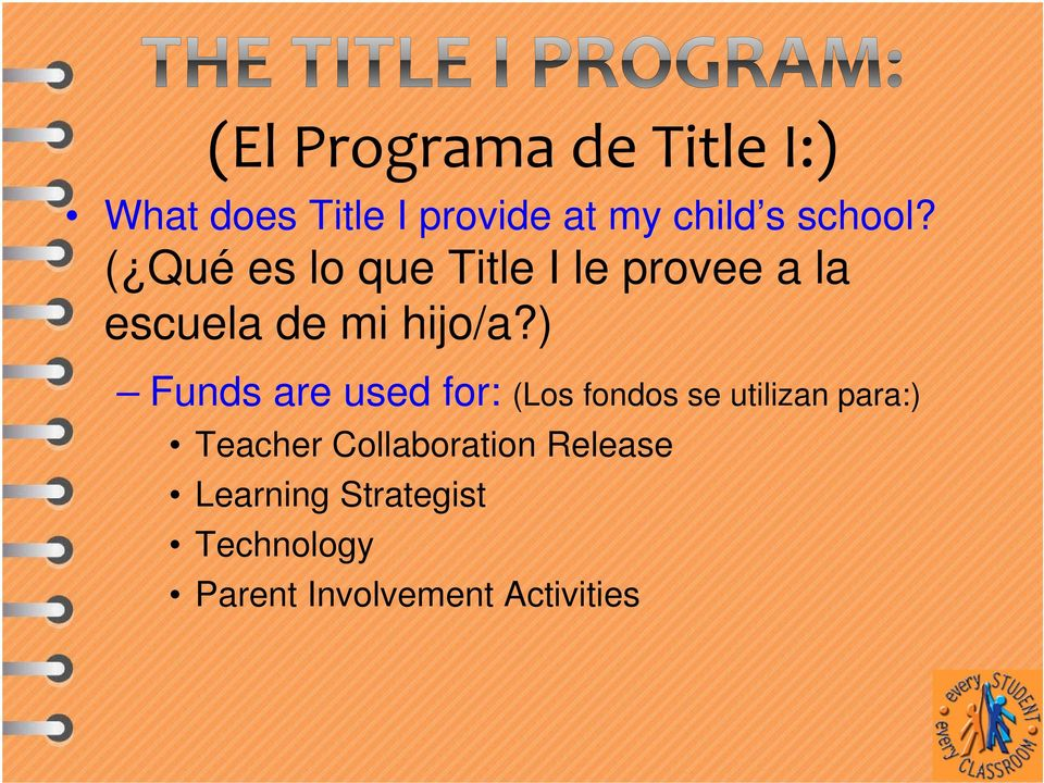 ) Funds are used for: (Los fondos se utilizan para:) Teacher