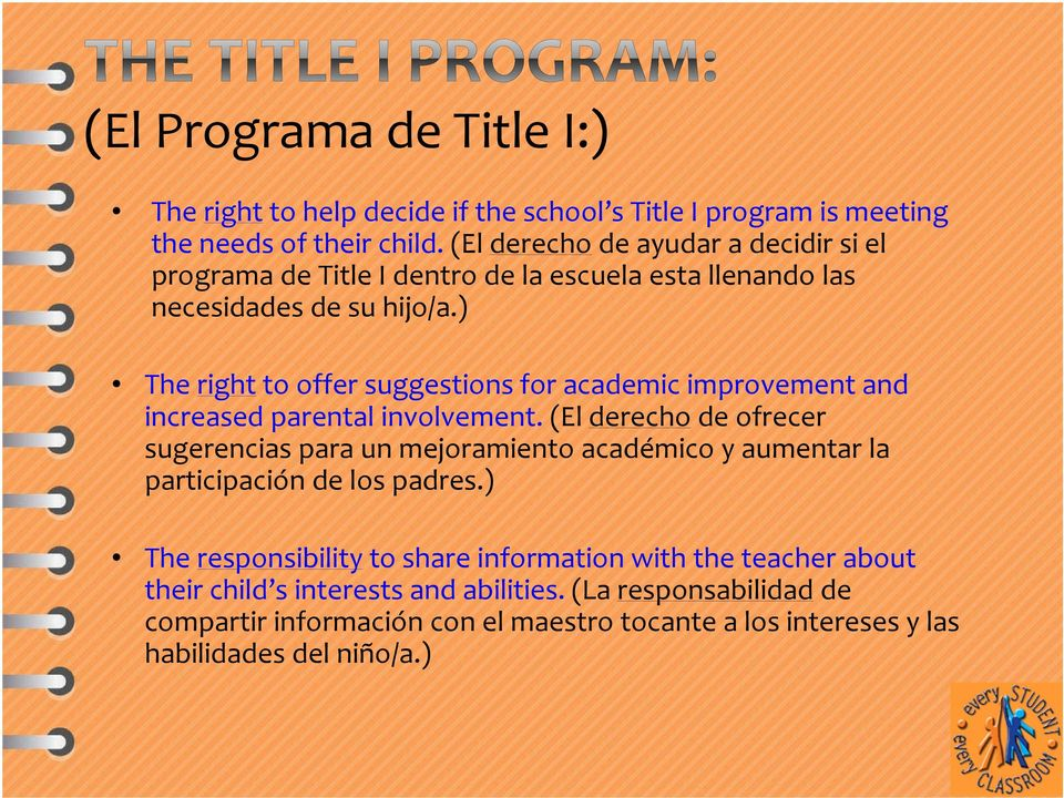 ) The right to offer suggestions for academic improvement and increased parental involvement.
