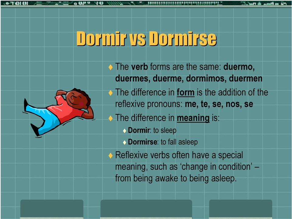 nos, se The difference in meaning is: Dormir: to sleep Dormirse: to fall asleep