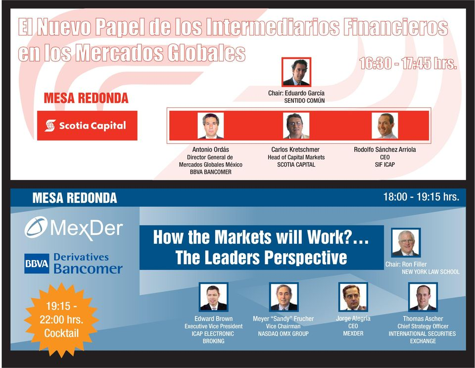 SCOTIA CAPITAL Rodolfo Sánchez Arriola CEO SIF ICAP MESA REDONDA 18:00-19:15 hrs. How the Markets will Work?
